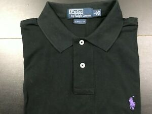 RALPH LAUREN POLO SS CUSTOM FIT SOLID BLACK POLO SHIRT SIZE: LARGE