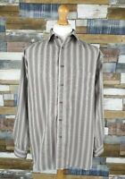 EWM Brown Beige Striped Mens Long Sleeved Shirt Size L Large