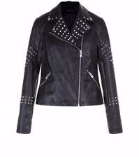 New Look Black Studded Trim Leather-Look Biker Jacket Size 8