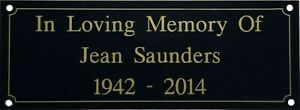 Memorial Bench Plaque Plate Sign 5 x 2 inch Engraved Black With Gold Text