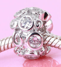 SOLID Sterling Silver Swirl Bead with 8pcs Big Sparkling Cz For Charm Bracelet