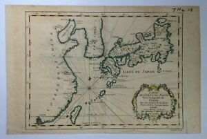 JAPAN COREA CHINA 1760 by NICOLAS BELLIN NICE ANTIQUE ENGRAVED MAP 18TH CENTURY