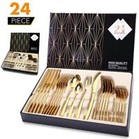 24Pcs Gold Flatware Cutlery Set Stainless Steel Silverware Kitchen Service For 6