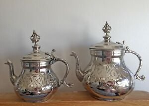 Traditional Double Turkish Teapot, Handmade, Copper-Nickel, Engraved Motifs