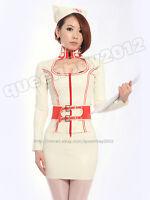 100% Latex Rubber Gummi Nurse Uniform Dress Hat Skirt Catsuit Suit Belt Buckle