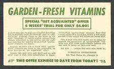 1950 POSTAL CARD CHICAGO IL NUTRITION ENTERPRISES OFFFERS GARDEN FRESH VITAMINS