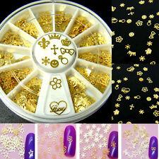 360PCS 3D Metal noble Gold Mixed Design Glitters Slice Nail Art Decoration Wheel