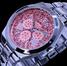 Excellanc Damen Armband Uhr Rosa Silber Farben Metall Strass ZR1