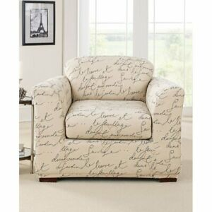 Stretch Pen Pal By Waverly Box Cushion Armchair Slipcover