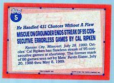 1991 Topps  Cal Ripken #5  copyright error and E*F* error variation