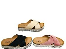 WOMENS LADIES CROSS STRAP FOOTBED FLATFORM STUDDED BEACH SANDALS SIZE 3-8