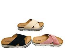 b983944551e3 WOMENS LADIES CROSS STRAP FOOTBED FLATFORM STUDDED BEACH SANDALS SIZE 3-8