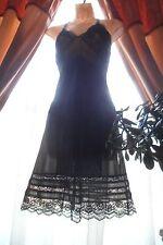 Vintage Midnight Black Lovely Lace Slip Sz 34 Burlesque