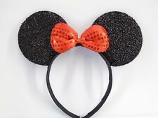 MINNIE MOUSE EARS Headband Black Sparkle Red Sequin Bow ~ 5 piece Lot