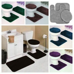 3pc solid plain assorted colors bathroom rugs contour mat toilet lid cover set #