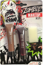 Halloween Zombie Scars Makeup Dirt & Fake Blood Scab Wound Costume Red Vampire