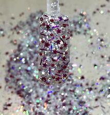 glitter mix acrylic gel nail Art  RASPBERRY ICE