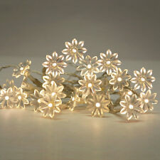 WARM WHITE SET OF 20 BATTERY OPERATED LED FLOWER FAIRY STRING LIGHTS