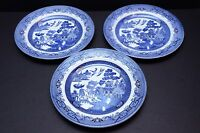 """Set of 3 Churchill Blue Willow 10 1/4"""" Dinner Plates Made in England"""