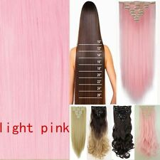 100% Natural Human Hair Clip in Hair Extensions 8 Pieces Full Head Long as Real