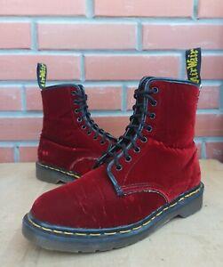 Dr Martens England 1460 Women 5 5.5 UK 7 7.5 US Vintage Boots 8 eye Red Velvet