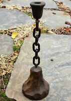 Vtg Gothic Candlestick Medieval Chain Candle Holder Heavy Metal Creepy Staging