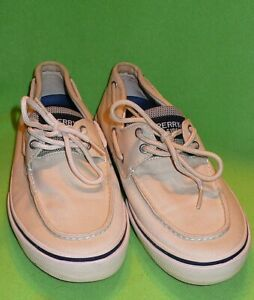 SPERRY Top Sider BAHAMA regular laces. Two tone beige. MENS 12 M width. Canvas