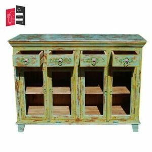 Pandora Hand Painted Indian Solid Wood 4 Drawers Glass Door Side (MADE TO ORDER)