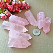 Natural Rock Rose Quartz Crystal Hexastyle Point Healing Pink Mineral Gemstone