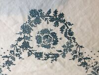 "Vintage Blue Embroidery Cross Stitch White Linen Rectangle Table Cloth 52"" x 72"""