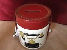 Unusual Vintage Ceramic and Leather Money Box With Old Telephone Decoration