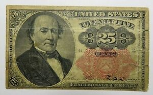 FR 1308 25 Cents WALKER Fractional Currency 5th Issue Red Seal LONG KEY