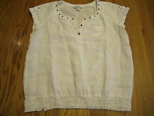 Style & Co Womens Size 14 White Linen Cap Sleeve Top Tunic Shirt Metal Accents