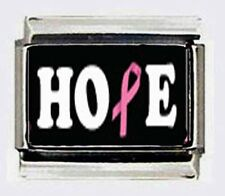 HOPE Breast Cancer Awareness 9mm photo Italian charms for modular style bracelet