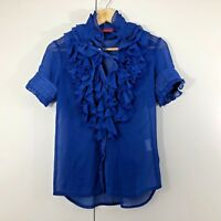 PIPER LANE Size 8 Womens Blue Sheer Frill Work Corporate Summer Blouse Top