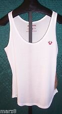NWT True Religion White Tank Top Misses Size Large with Red embroidery