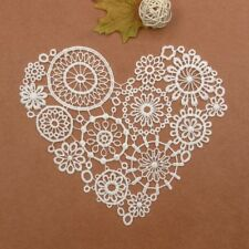 Crochet Heart Lace Motif Ivory Lace Collar Trims DIY Embroidery Sew on Applique