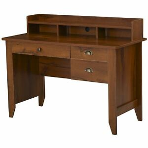 Industrial Style Office Table Wooden Computer Desk Writing Study Storage Brown