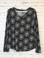 No Boundaries Womens Halloween Shirt Size XL Black Long Sleeve Spider Web V-Neck