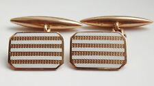 Antiguo Art Deco 9ct Dorado Y Esmalte Gemelos con el motor se volvió Decoración c1930