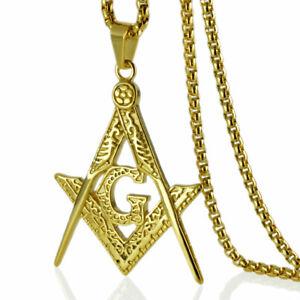 18k gold vacuum plating  Freemasonry Masonic Mason Pendant chain necklace