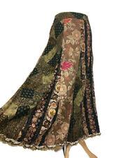 Per Una Brown Khaki Floral Patchwork Cord Boho Flared Aline Midi Skirt Size 10