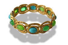 Chanel Vintage 1970s Green Turquoise Poured Glass and Stones Bangle Bracelet