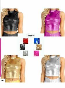 Womens & Girls Wet Look Metallic Mock Neck Turtleneck Crop Top  Metallic TankTop