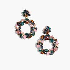 J CREW Colorful FLORAL Hoop Earrings Statement Flower Dangle In DARK INK