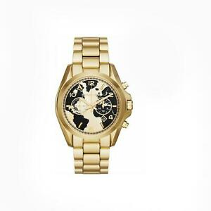 Michael Kors MK6272 Bradshaw Black And Gold Globe Dial Men's Watch