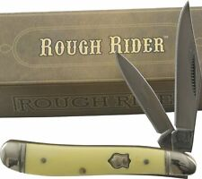 Rough Rider Smooth Yellow Handles Peanut Pocket Knife RR605 2 Folding Blades