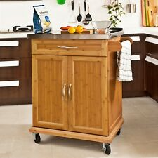 Kitchen Island Cabinet Wooden Storage Table Stainless Steel Worktop Trolley Unit