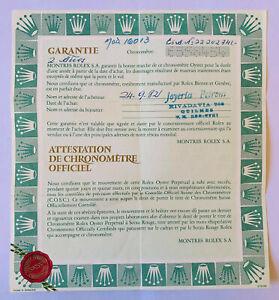 Vintage Rolex Guarantee - garantie - certificated paper