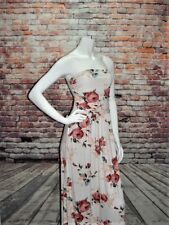 NEW WHITE FLoRaL STRaPLeSS PocKeTs BoHo Maxi Dress SIZE L